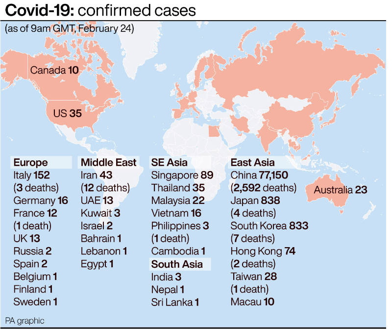 Coronavirus outbreak graphic for counties such as Italy, China and South Korea - Press Association Images