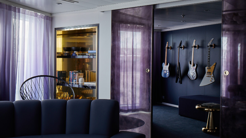 A RockStar Suite onboard the Scarlet Lady (Virgin Voyages/PA)