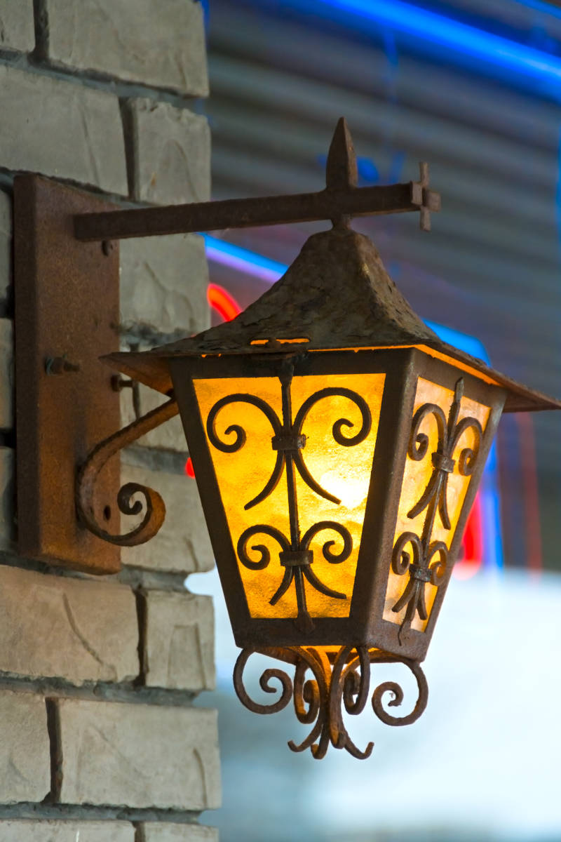 Beautiful outdoor lamp in a city business