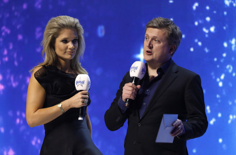 Aled Jones  On stage with Charlotte Hawkins at the Hammersmith Apollo (Credit/PA)