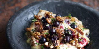 Baked brie with blackcurrents