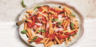 Penne with Trapanese-style peppers