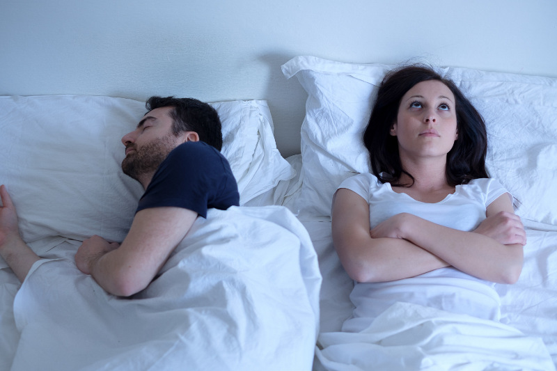 If one partner keeps the other awake with snoring you might consider sleeping apart.