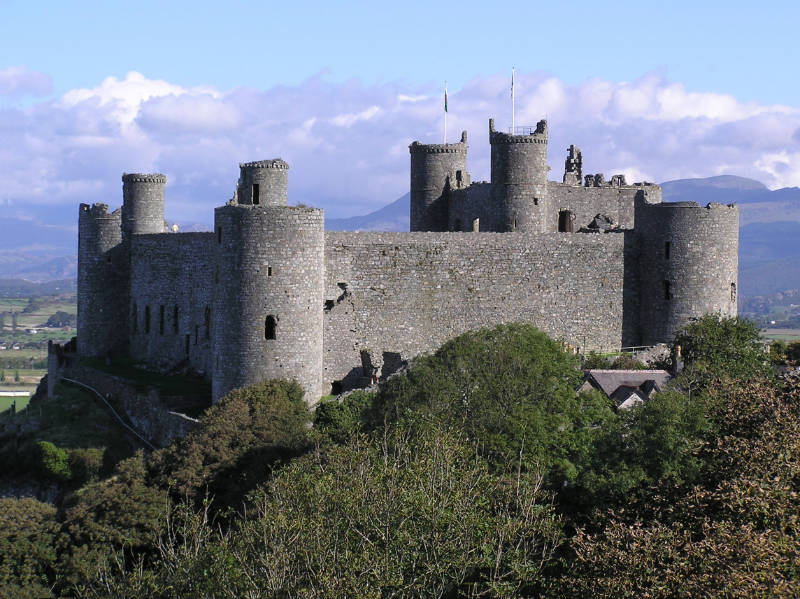Harlech Castle, built on a rocky outcrop situated on the west coast of Wales by order of King Edward I in the 13th century.