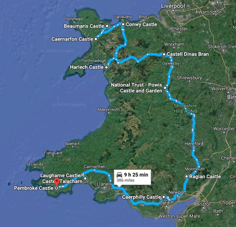 Castles in Wales map