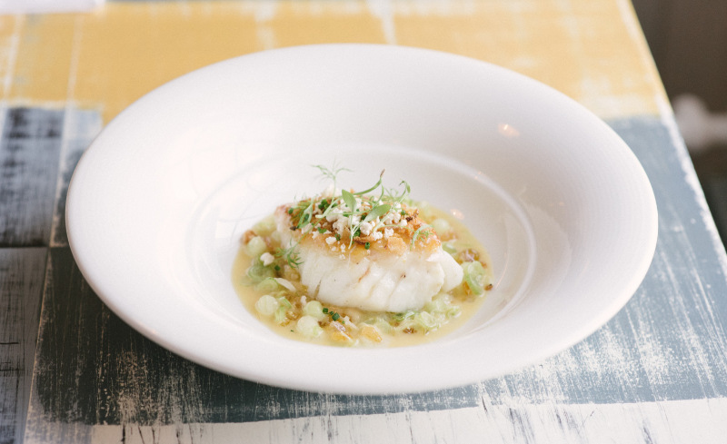Fillet of Norwegian Cod with parsnip puree and a verjus and spring onion butter sauce (Rob Coombe/PA)