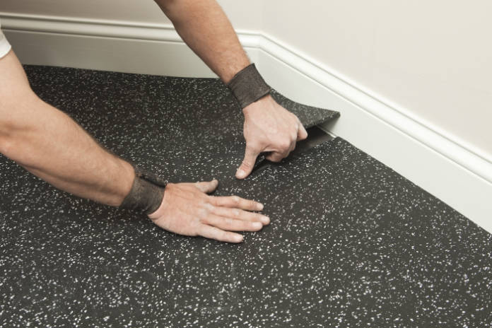 Rubber flooring - a good option for home gyms.