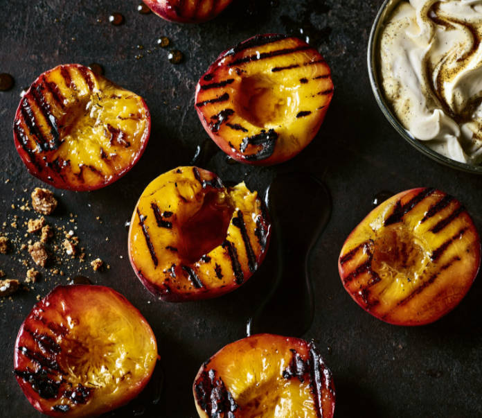 Roasted Peaches with Whipped Cream