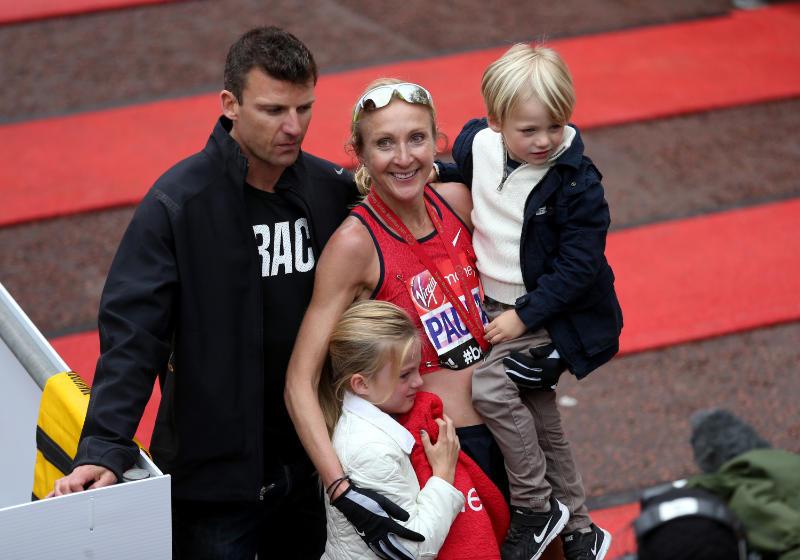 Paula Radcliffe and family after the London Marathon 2015 (David Davies/PA)