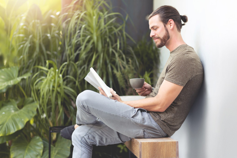 Power of positive thinking man reading