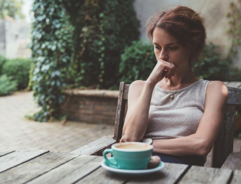 Too much caffeine anxious woman