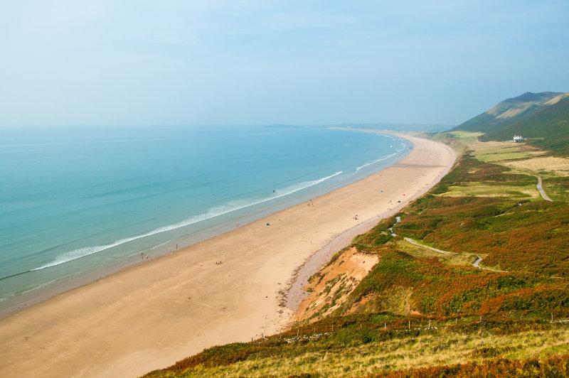 Welsh beaches Rhossili Beach in Summer