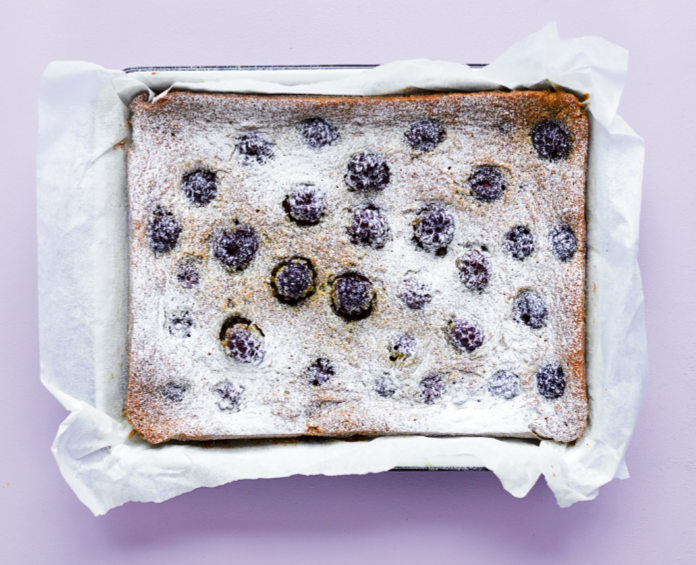 Blackberry and pistachio cake from The Quick Roasting Tin by Rukmini Iyer.