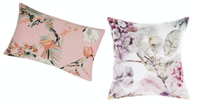 (L-R) Apricity Pink Boudoir Cushion, £34; Large Full Floral Cushion, £36, The French Bedroom Company (The French Bedroom Company/PA)