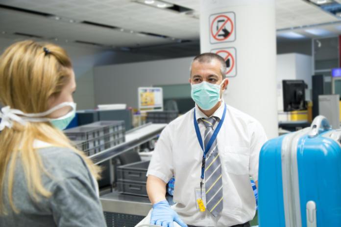 Airport security check vs coronavirus