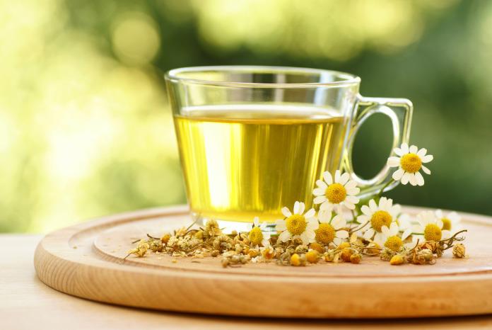 Herbal tea health benefits Chamomile tea with dry and fresh chamomile