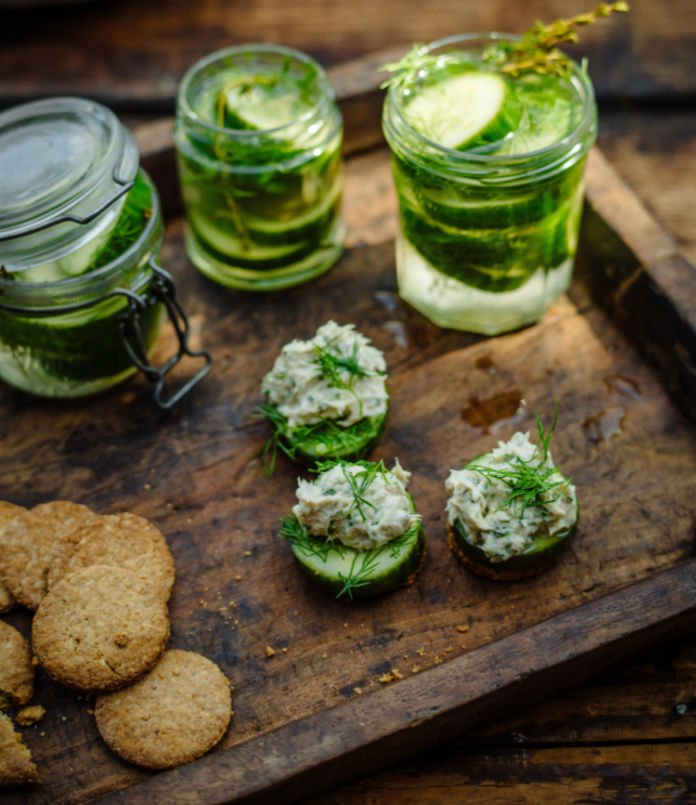 mackerel pate with pickled cucumbers from Tom Kitchin's Fish and Shellfish (Marc Miller/PA)