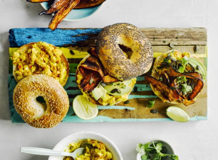 avocado ackee scramble and aubergine bacon bagels (Haarala Hamilton/PA)