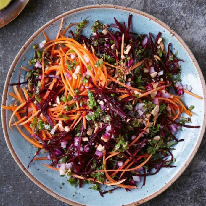 Beetroot, carrot and peanut salad (Nassima Rothacker/PA)