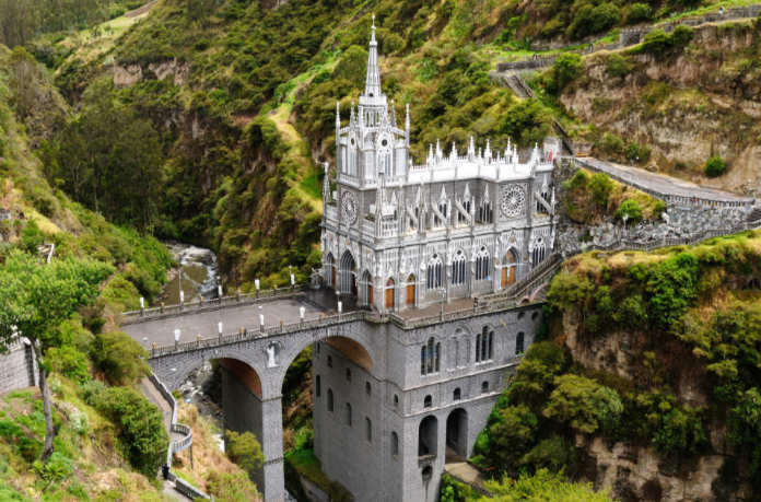 Sanctuary Las Lajas built in Colombia close to the Ecuador border.