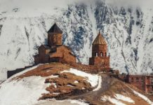 Gergeti Trinity Church in Northern Georgia, taken in April 2019