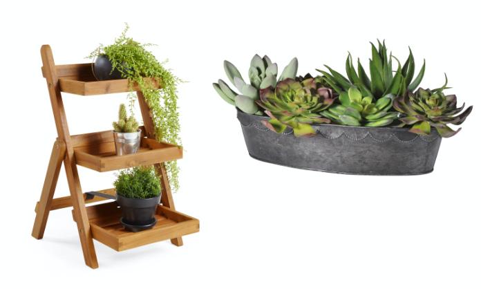 3-Tier Folding Plant Stand, £39.99, Vonhaus; Succulent Arrangement (faux), £80, Sweetpea & Willow (VonHaus/Sweetpea & Willow/PA)