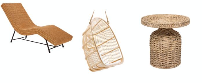 Sura Lounger – Natural, £395, Habitat; Sika Rattan Renoir Hanging Chair in Natural, £425, Cuckooland; Camo Water Hyacinth Side Table, £119, Beaumonde (Habitat/Cuckooland/Beaumonde/PA)