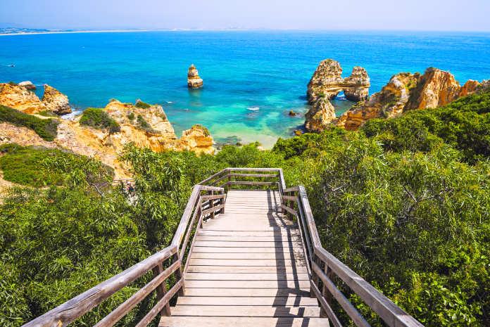 Scenic seascape and beach near Lagos on the Algarve's coast (iStock/PA)