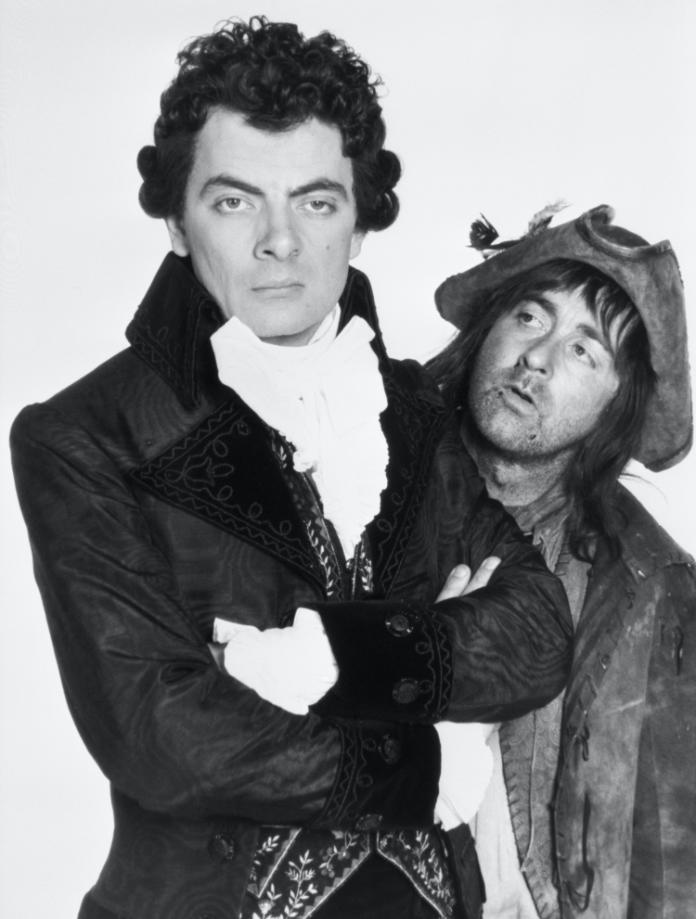 Comedy actors Rowan Atkinson (left) and Tony Robinson as Blackadder and Baldrick in Blackadder III.