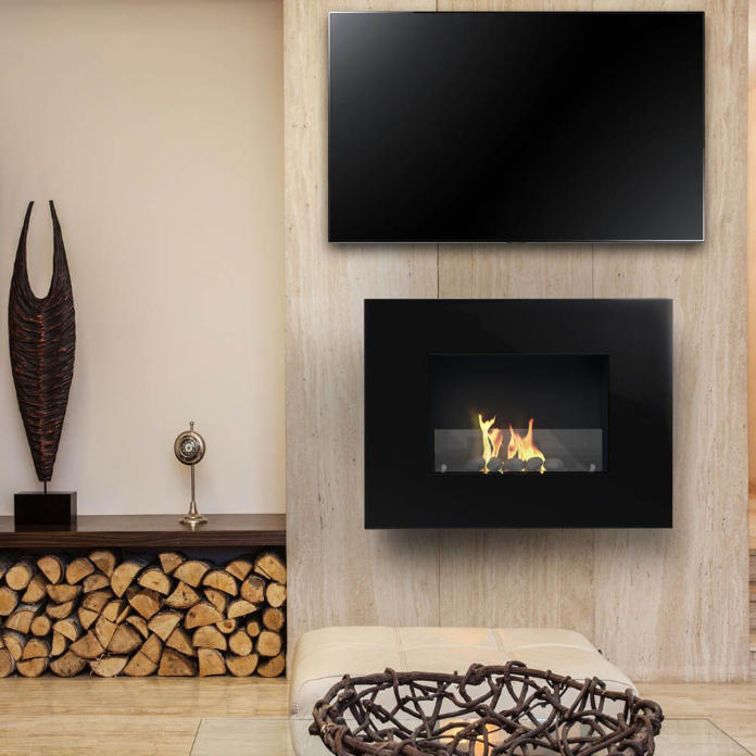 What are the different types of fireplace - A television and fireplace, both wall mounted (Imaginfires/PA)