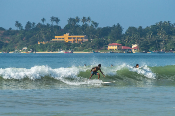 A Generic Photo of surfers in Weligama, Sri Lanka.