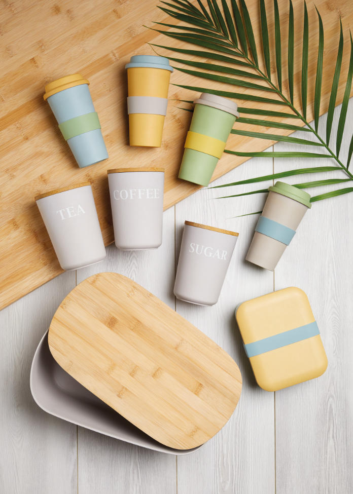 Kitchencraft's Natural Elements range includes a Bread Bin with Bamboo Lid, £19.99;  Bamboo Fibre Airtight Coffee, Sugar and Tea Canisters, from £9.49 each or £32.47 as a bundle; Bamboo Lunch Box, £5.50; Re-Usable Travel Mugs, £6.99 each, Amazon (Kitchencraft/PA)