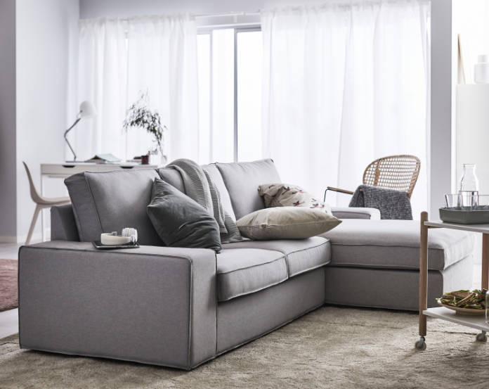 Kivik 3-seater Sofa with Chaise longue in Hillared Anthracite, £740, has a memory foam filling and covers made with sustainably sourced cotton, Ikea (Ikea/PA)