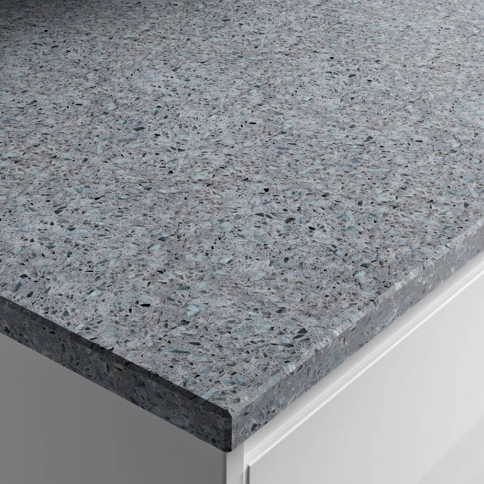 Apollo Recycled Glass Worktop, made from 70% recycled glass, 20% powdered quartz, and 10% high performance polymer resin, available with kitchens from Wickes (Wickes/PA)