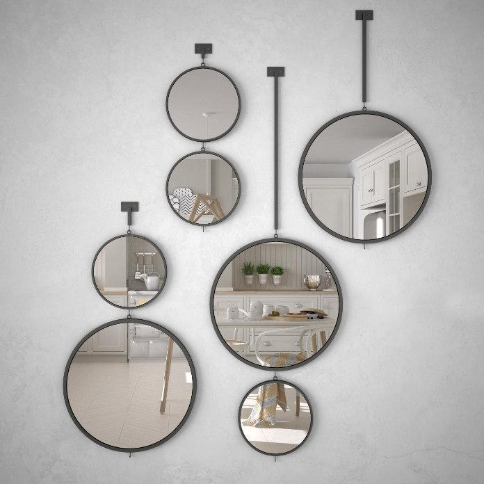 Round mirrors hanging on the wall reflecting interior design scene, scandinavian white kitchen, modern architecture