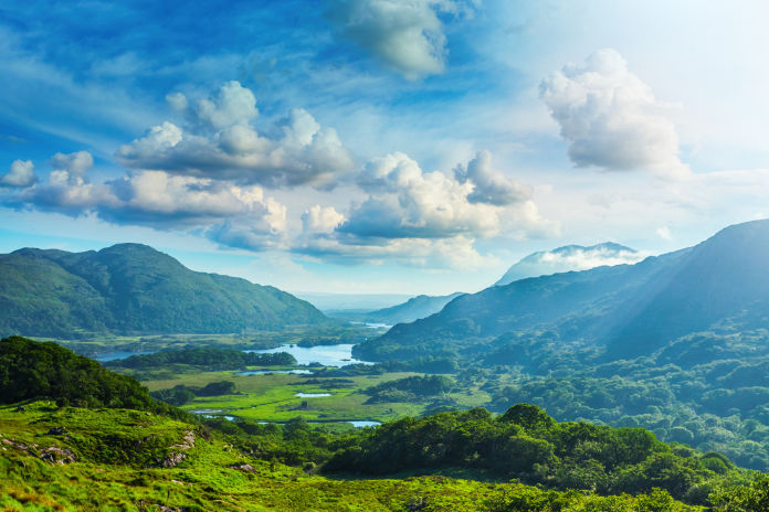 Lakes of Killarney along the Ring of Kerry, County Kerry, Ireland View from the scenic point called Ladies View.