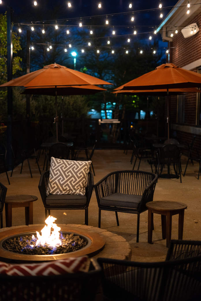 Relaxing patio atmosphere with firepit