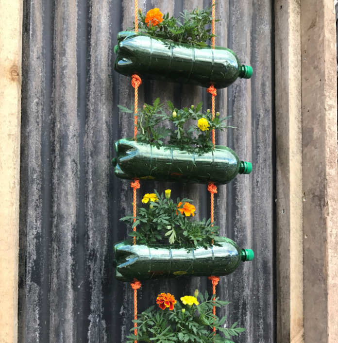Vertical planting home-made style (Hannah Stephenson/PA)