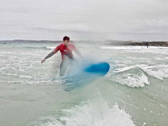 Gareth Cotter-Stone enjoying a surfing lesson
