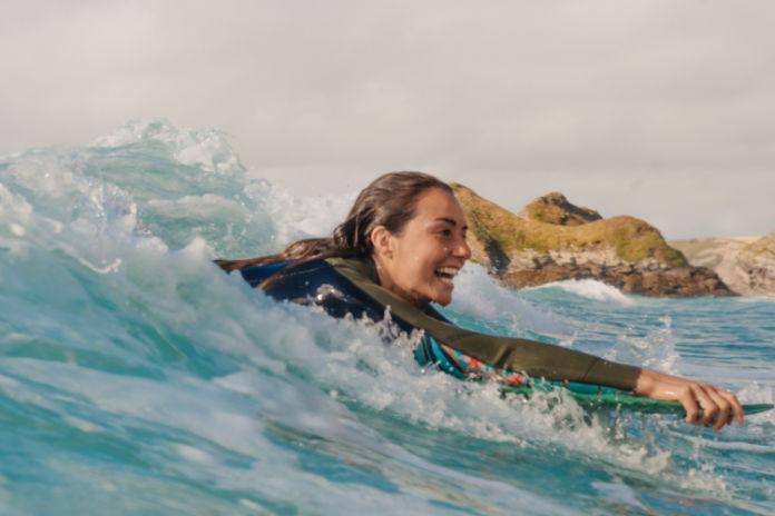 Bodyboarding in the sea