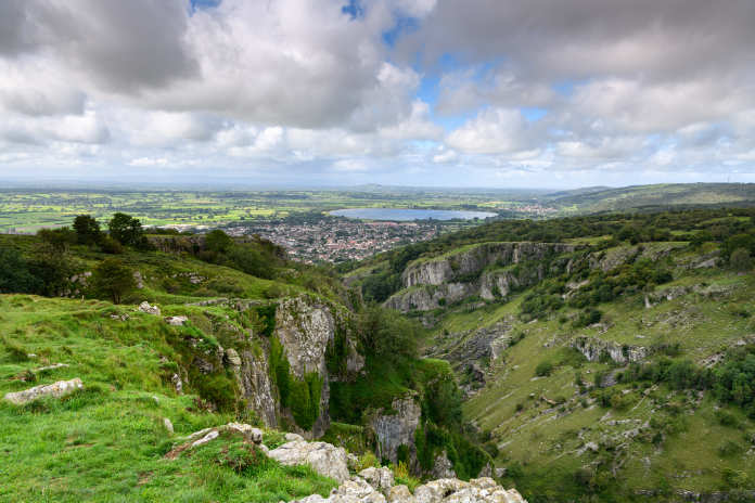 Landscaoe view from the top of Cheddar Gorge in Somerset