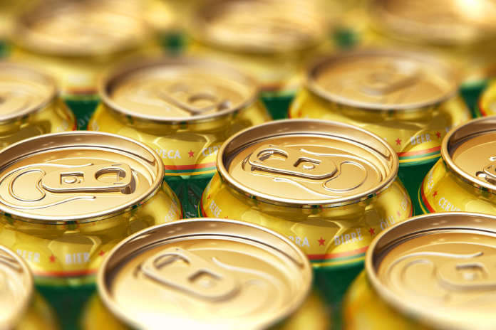 Creative abstract 3D render illustration of the macro view of metal shiny alcohol beer drink cans with selective focus bokeh effect