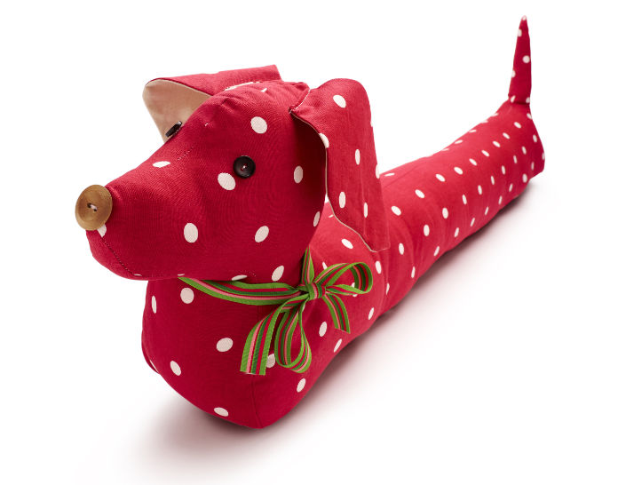 Red sausage dog draught excluder
