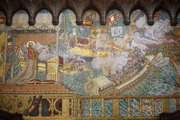 A 19th century mosaic depicting the Battle of Lepanto