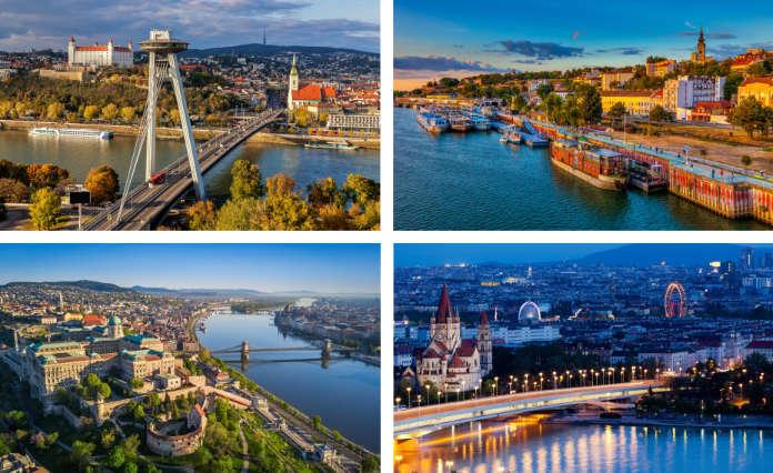 Clockwise from top left: Bratislava, Belgrade, Vienna, Budapest (iStock/PA)