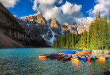 Canoes on Moraine lake in Banff national park, Canada