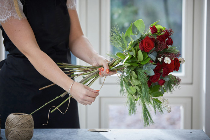 Secure a bouquet with string