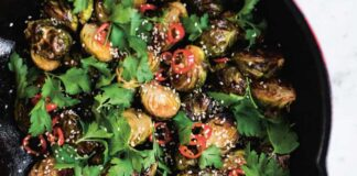 Crisp Brussels sprouts from The Little Library Christmas by Kate Young