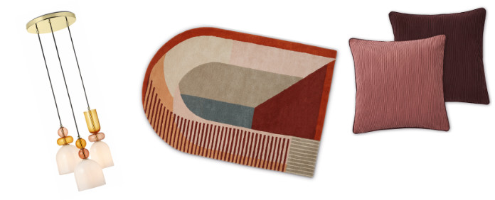 Whitney Cluster Pendant Lamp – Pink Multi. £139; Mundo Handtufted Wool Rug, £349; Selky Set of 2 Reversible Corduroy Cushions – Rose Pink & Burgundy, £39, Made.com
