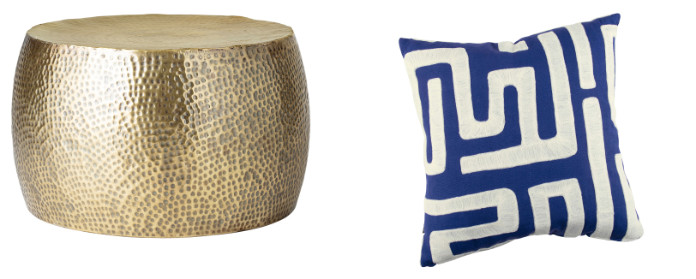 Hammered Brass Drum Coffee Table, £288, Audenza; Zinc Textile Geronimo Cushion, £135, Sweetpea & Willow